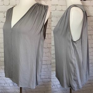 Vince Silk Gray Sleeveless V Neck Blouse